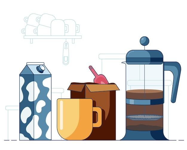 Mug avec café chaud préparé par frenchpress box avec café et lait devant une cuisine simple