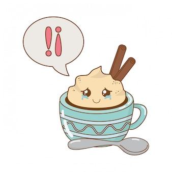 Mug en chocolat avec personnage kawaii de bulle de dialogue