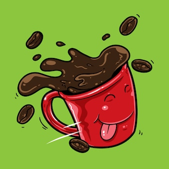 Mug de dessin animé café mouche