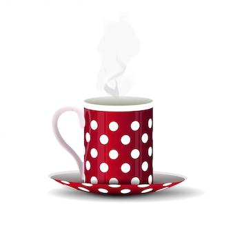 Mug à pois rouge isolé sur blanc