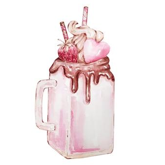 Mug en verre aquarelle dessiné à la main avec coeur doux