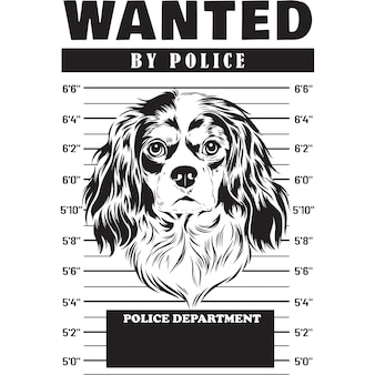 Mugshot de cavalier king charles spaniel dog holding banner derrière les barreaux