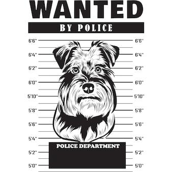 Mugshot de chien schnauzer nain tenant une bannière derrière les barreaux