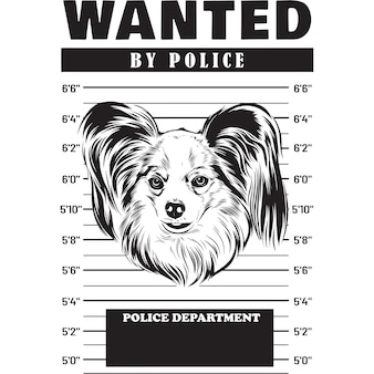 Mugshot de papillon dog holding banner derrière les barreaux