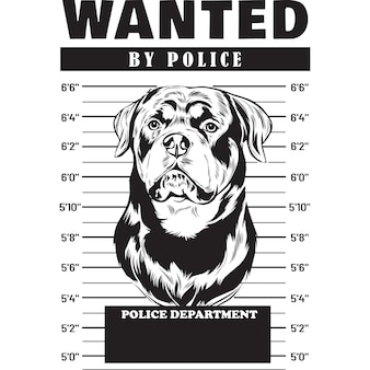 Mugshot de rottweiler dog holding banner derrière les barreaux