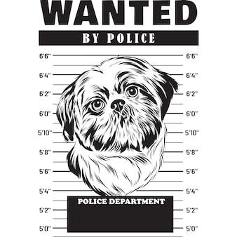 Mugshot de shih tzu dog holding banner derrière les barreaux