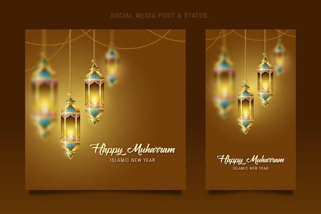 Muharram, nouvel an islamique médias sociaux et statut post, décoration de lampe suspendue lanterne ramadan kareem.