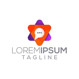 Multi chat multimédia jouer logo moderne