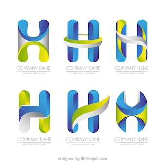 Multicolor letter h logo collection