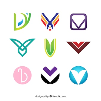 Multicolor letter v logo collection