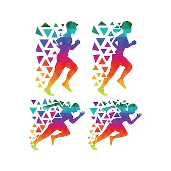 Multicolor running silhouette collection