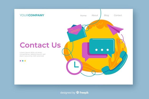 Multicolore nous contacter page de destination avec mélange d'objets de contact
