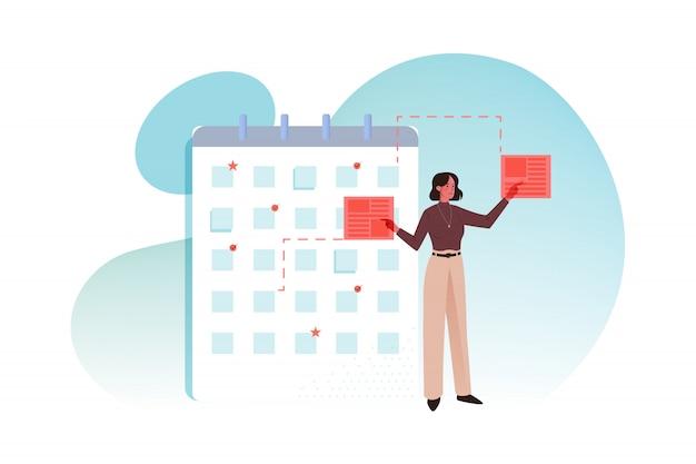 Multitâche, calendrier, gestion, concept d'entreprise big data
