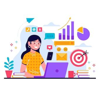 Multitâche féminine au travail