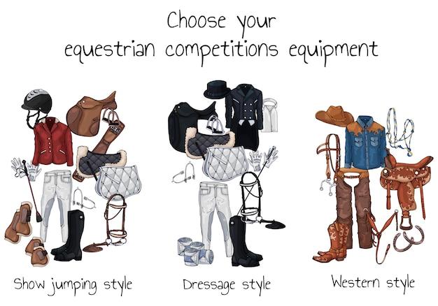 Munition de cheval de vecteur et tenue de cavalier