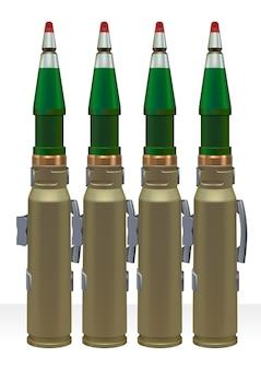 Munitions de gros calibre pour pistolet automatique.