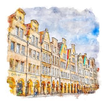 Munster allemagne aquarelle croquis dessinés à la main illustration
