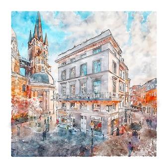 Munsterplatz aachen allemagne croquis aquarelle dessinés à la main