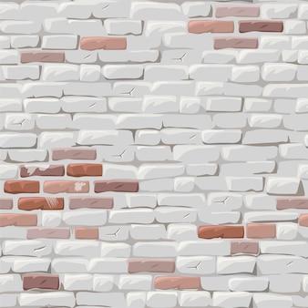 Mur brique rouge peint en stuc blanc