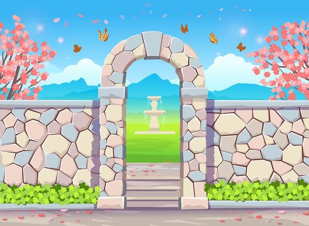 Mur de briques avec arche de porte avec glycine illustration du parc printanier avec arbres en fleurs glycine