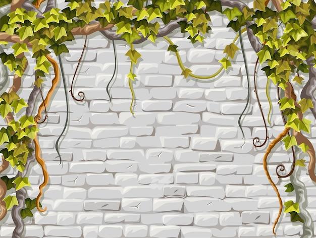 Mur de briques branches liane lierre
