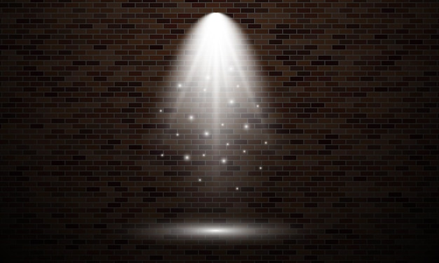Mur de briques avec spot lumineux. effet de lumière isolé de couleur blanche sur fond de mur de briques sombres. illustration vectorielle