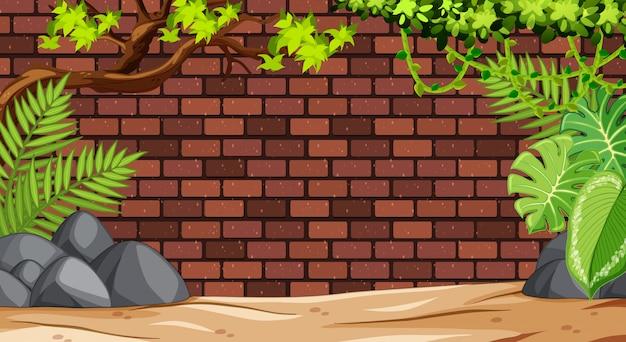Mur de briques vierges avec la nature dans la scène du zoo