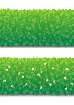 Mur de brousse et petites fleurs isolées. modèle sans couture de clôture de buissons verts.