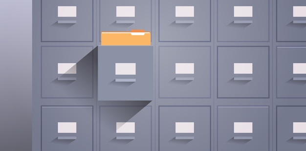 Mur de bureau de classeur avec catalogue de cartes ouvertes dossiers de stockage d'archives de données de documents pour les fichiers entreprise administration concept illustration vectorielle horizontale