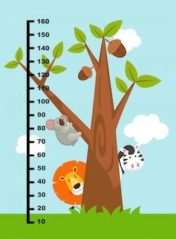 Mur mètre avec des animaux sauvages. illustration.