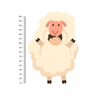 Mur avec mètre costume de mouton