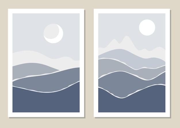 Mur de paysage d'art. paysage abstrait avec des montagnes