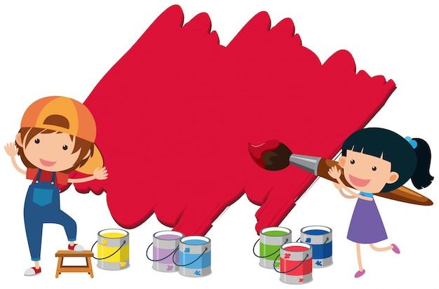 Mur de peinture de deux enfants avec la couleur rouge