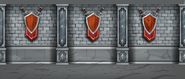 Mur de pierre médiéval texture transparente château de brique donjon fond bouclier en bois épée drapeau