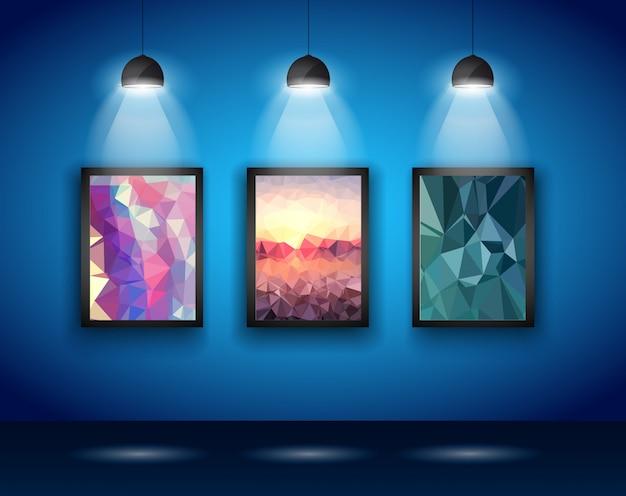 Mur de projecteurs avec low poly arts