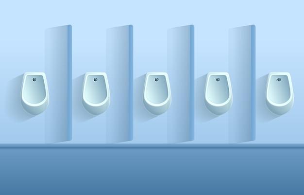 Mur de toilettes de dessin animé avec des urinoirs, illustration