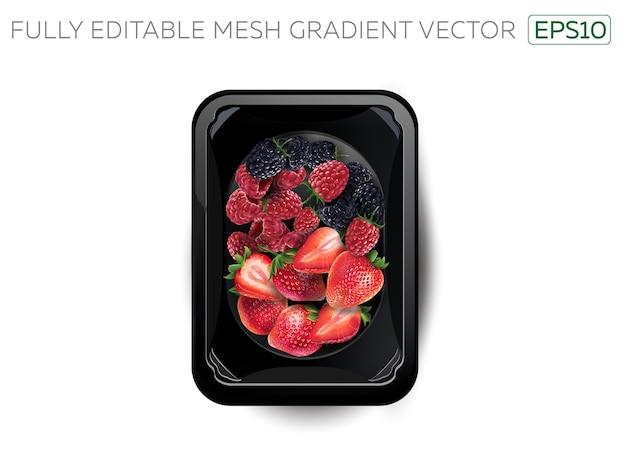 Mûres, framboises et fraises dans une boîte à lunch.