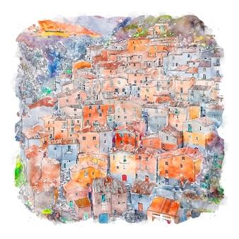 Muro lucano italie croquis aquarelle illustration dessinée à la main