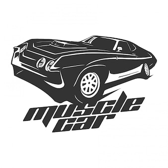 Muscle car logo vector