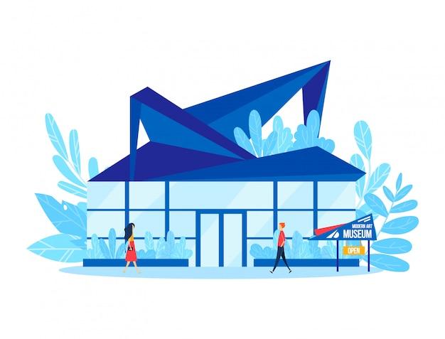 Musée d'art moderne, personnage visitant le bâtiment de la galerie conceptuellement créative isolé sur blanc, illustration de dessin animé.