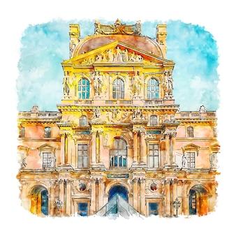 Musée du louvre paris aquarelle croquis illustration dessinée à la main