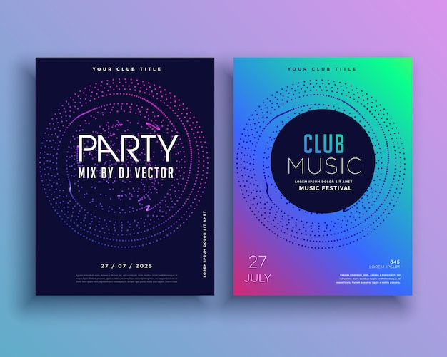 Music club party flyer template design vectoriel