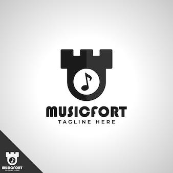 Music fort - modèle de logo de studio de musique