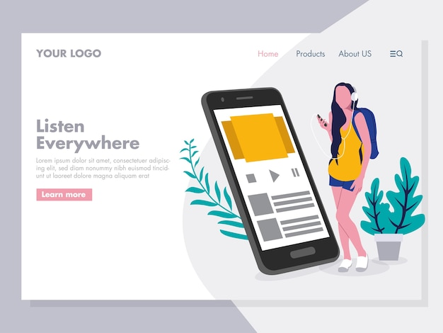 Music streaming illustration pour la page de destination