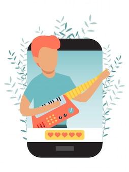 Musicien blogueur personnage dans un grand téléphone jouant à la guitare en streaming musical, application de blogging.