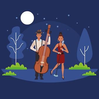 Musicien jouant de la basse et chantant