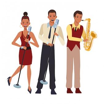 Musicien jouant du saxophone et chantant