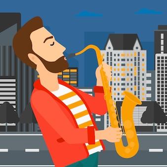 Musicien jouant du saxophone.