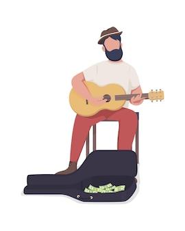 Musicien de rue avec caractère de vecteur de couleur semi-plat guitare