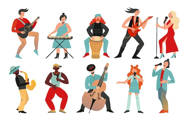 Les musiciens. guitaristes batteurs, chanteurs et artistes avec microphones